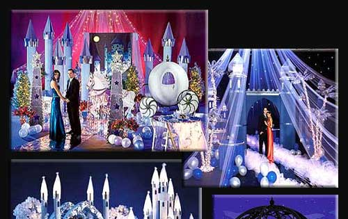 multiple fantasy castles spires domed gazebo bridges and decor even create a moat from reflective metallic sheeting castle packages from 1000 to 7500