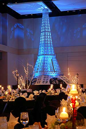 Winter theme prop party decor prom rentals 35000 items best price christmas in paris lit eiffel tower stage skirting for eiffel tower lit white trees lit street lights junglespirit Image collections